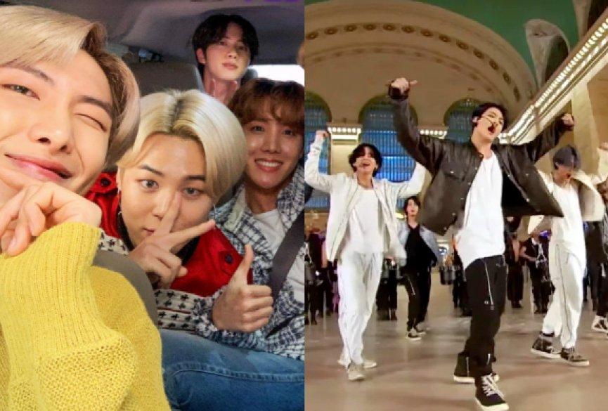 BTS防弹少年团纽约中央车站表演新曲!兜风KTV与詹姆斯柯登飙歌狂欢
