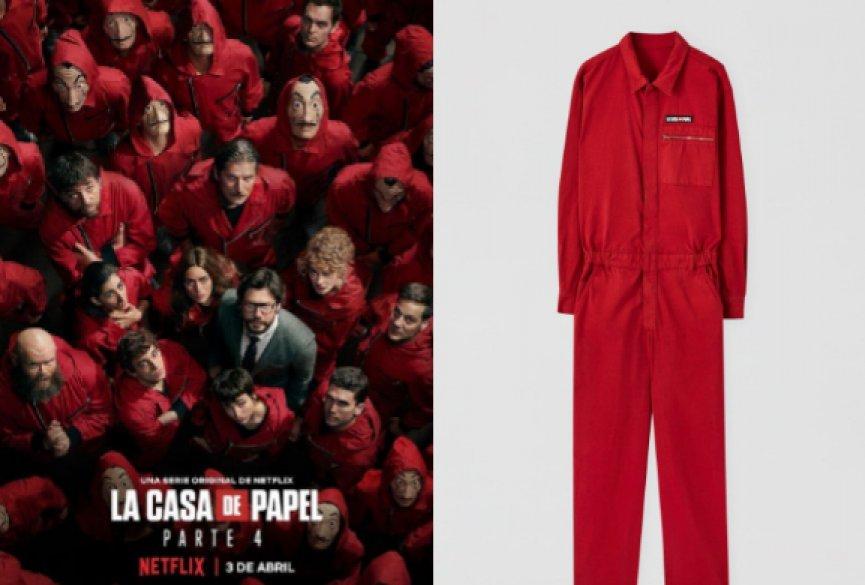 《纸钞屋》推出联名服装系列!经典红色连身裤掀